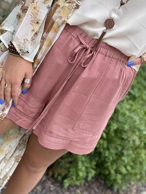 Mauve Tie Waist Shorts