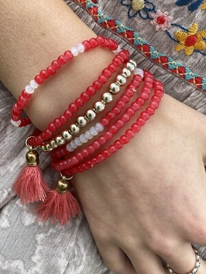 Coral/Red Set of 6 Bracelets