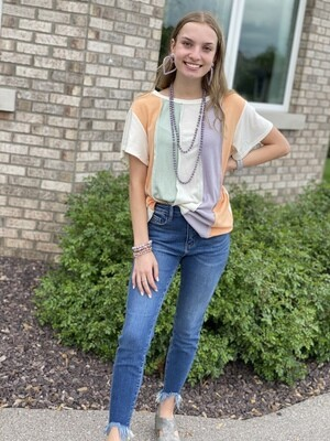 Mixed Color Block Top