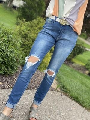 Medium Wash Distressed Knee Skinny Jeans