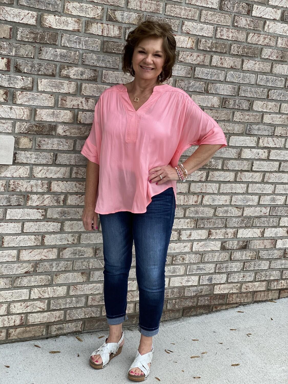 Pink Soft Woven Short Sleeve Blouse