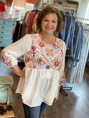 Savanna Jane White Embroidered 3/4 Sleeve Blouse