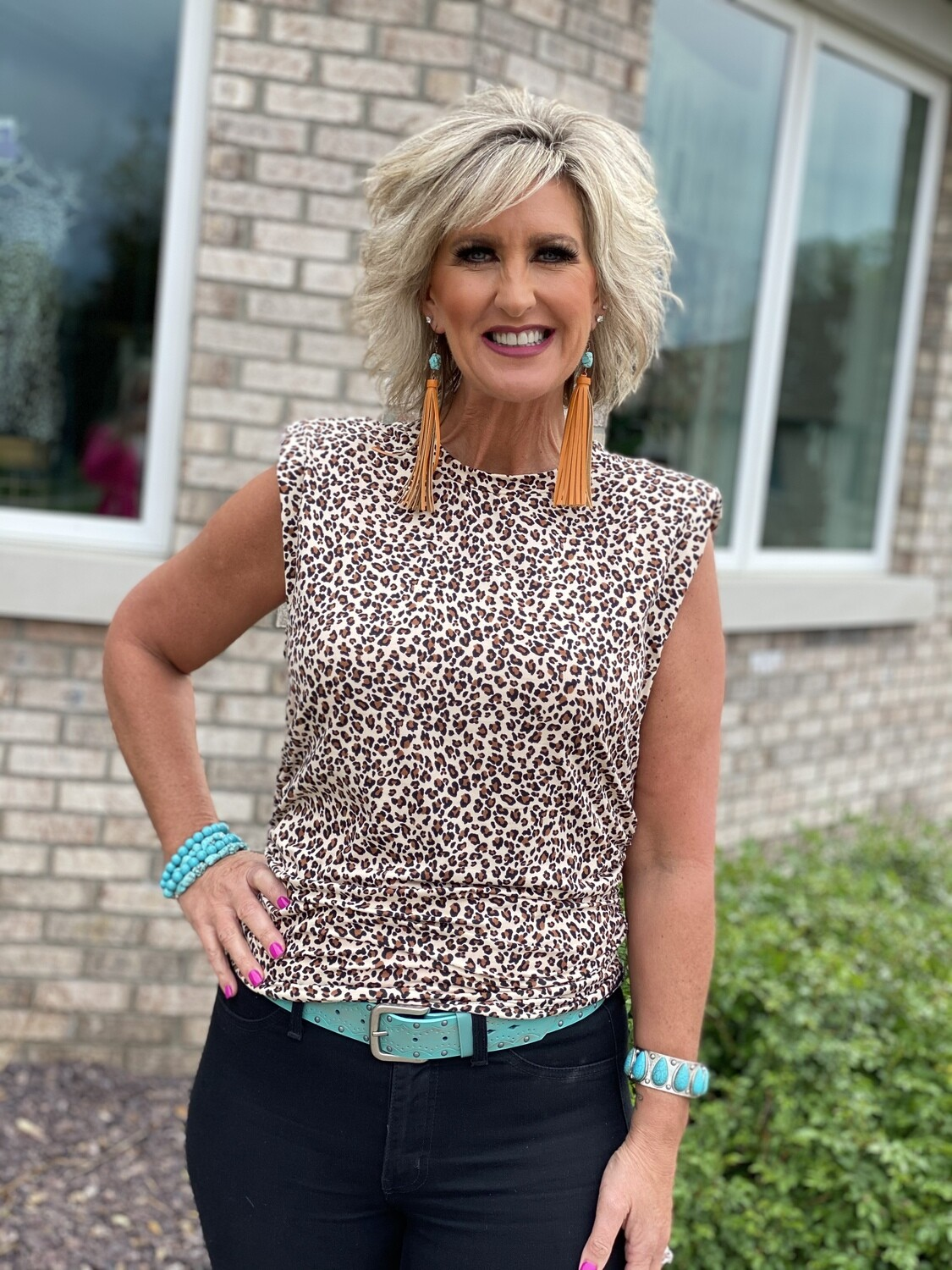 Padded Shoulder Leopard Top