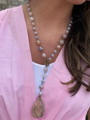 Blush Beaded Teardrop Stone Necklace