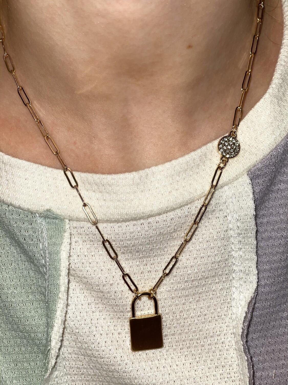 Gold Lock & Rhinestone Circle Necklace