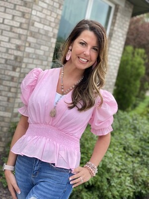 Pink Smocked Waist Blouse
