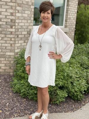 White Polka Dot Balloon Sleeve Dress