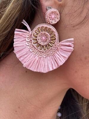 Light Pink Raffia Earrings