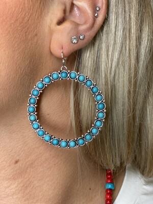 Turquoise Open Circle Earrings
