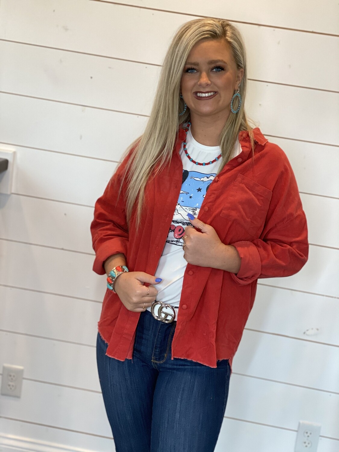 Red Corduroy Button Down Shirt