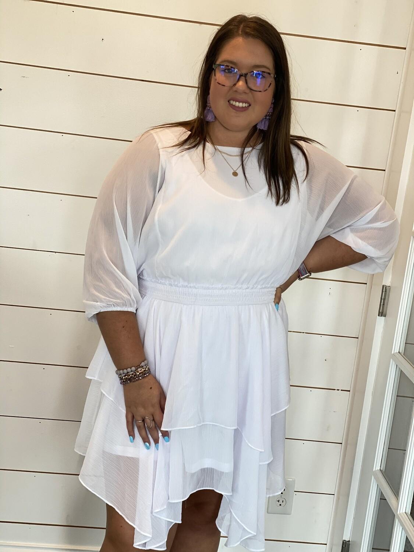 White Smocked Waist Tiered Ruffle Dress
