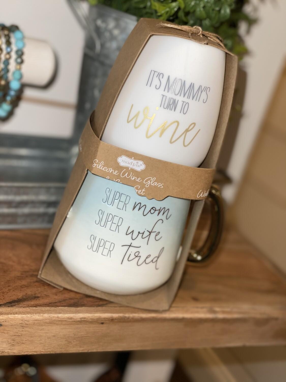 Mom Silicone Wine & Ceramic Mug Set