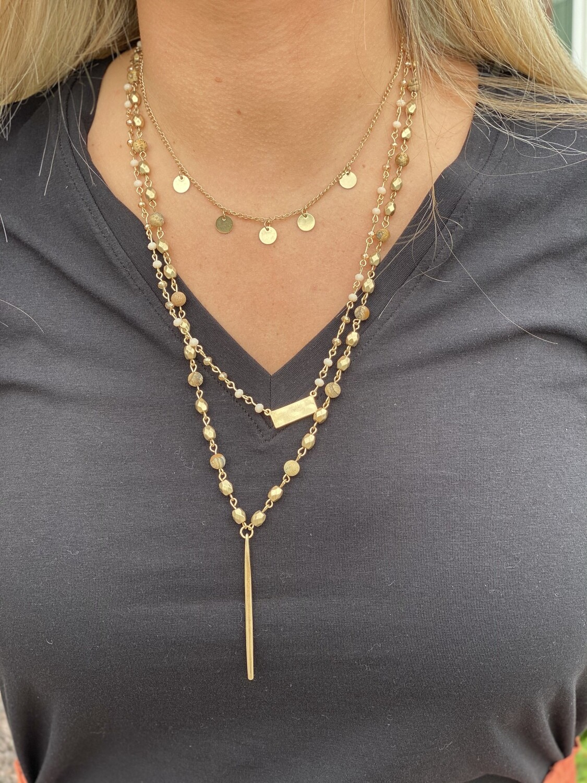 Three Strand Gold Mixed Bead Necklace
