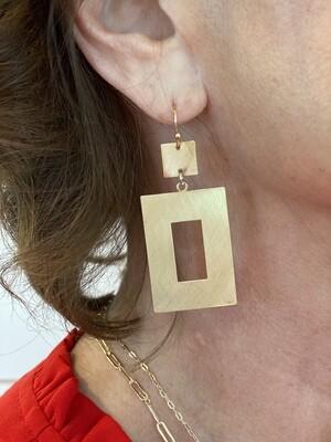 Gold Open Rectangle Earrings