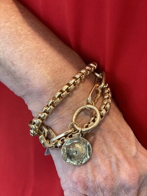Gold Layered Cable Chain With Pendent Bracelet