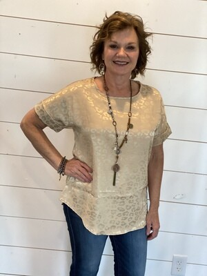 Taupe Satin Leopard Blouse