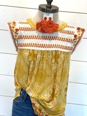 Savanna Jane Marigold Embroidered Tank