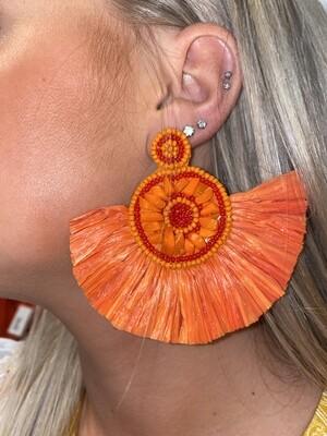 Orange Raffia Earrings