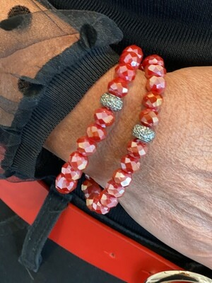 Crimson Sparkle Bead Bracelet