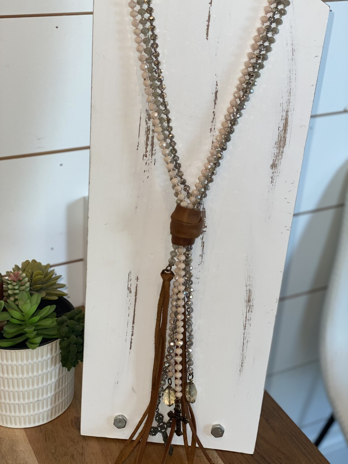 Blush Multi Strand Beaded Leather Tassel Necklace With Charms