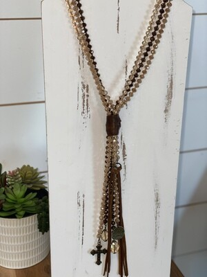 Brown Multi Strand Beaded Leather Tassel Necklace With Charms