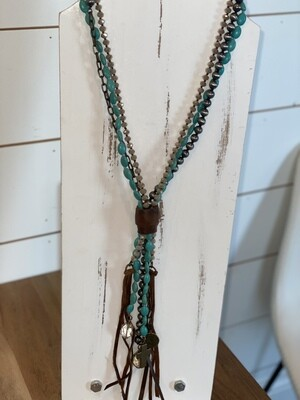 Turquoise & Sparkle Beaded Leather Tassel Necklace