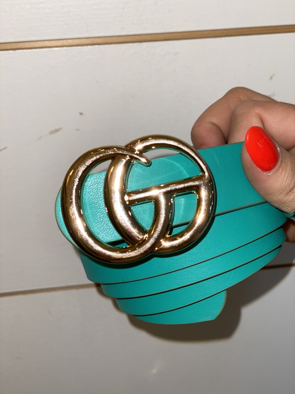 Turquoise Shiny Gold Belt