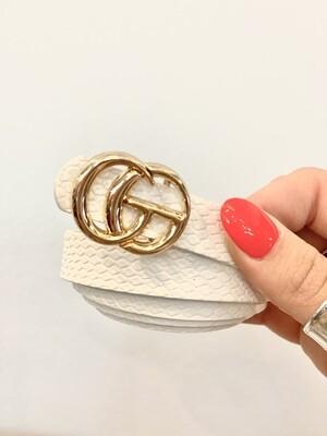 Thin White Textured Shiny Gold Belt