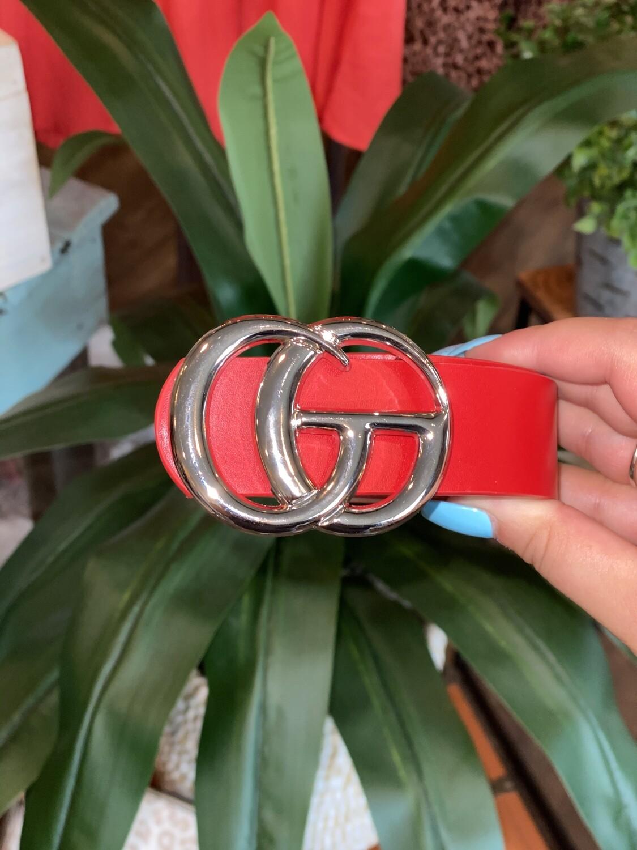 Red Shiny Silver Belt