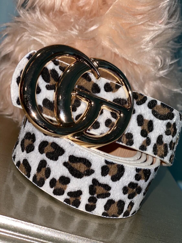 White Cheetah Shiny Gold Belt