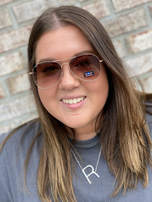 Brown Ombre Aviator Sunglasses