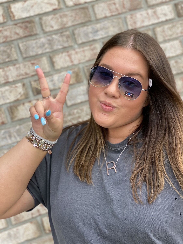 Blue Ombre Aviator Sunglasses