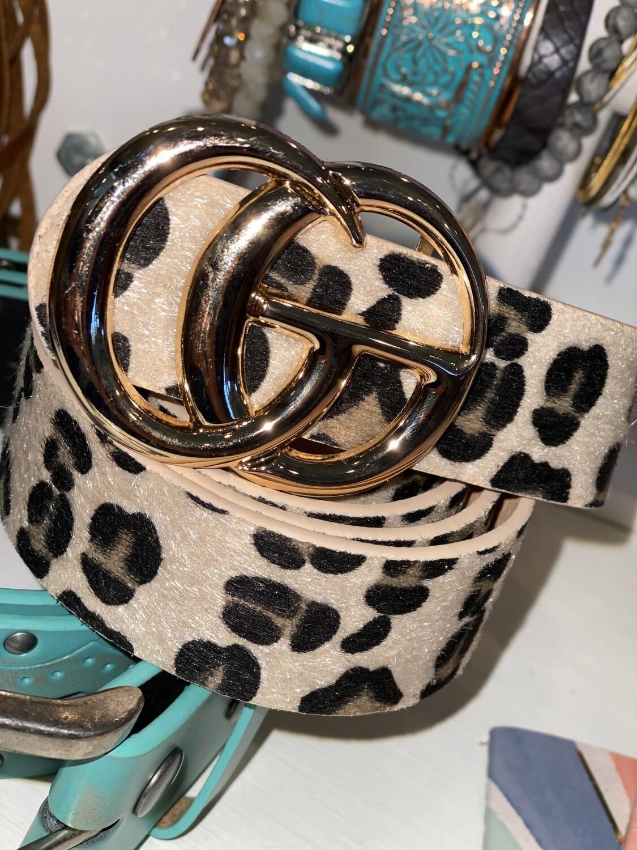 Tan Cheetah Shiny Gold Belt