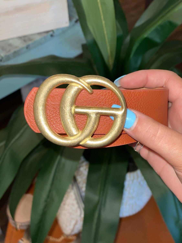 Cognac Matte Gold Belt