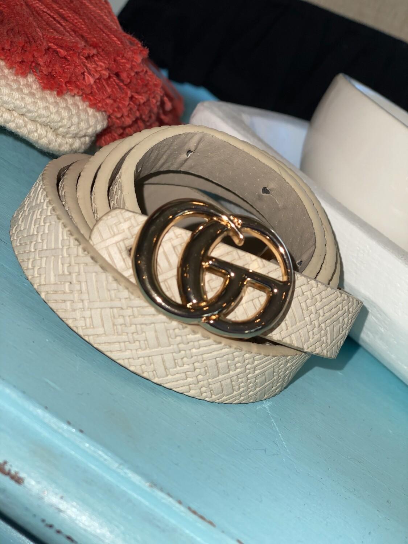 Cream Woven Thin Belt