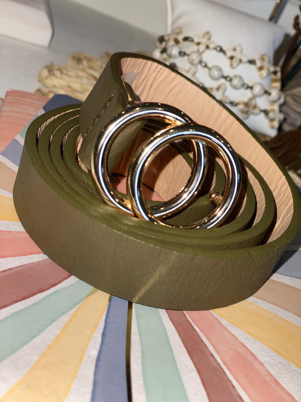 Olive Thin Belt