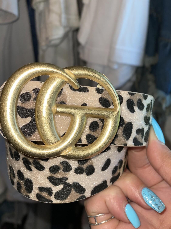 Tan Cheetah Matte Gold Belt