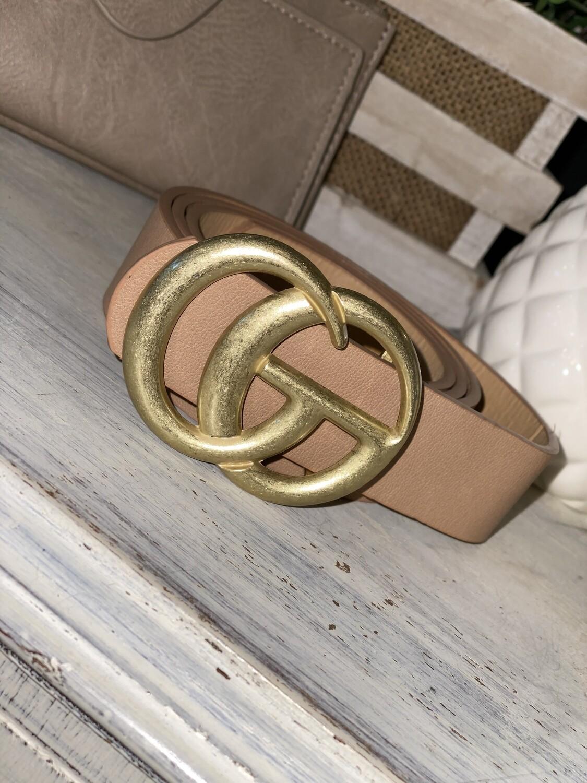 Light Taupe Matte Gold Belt
