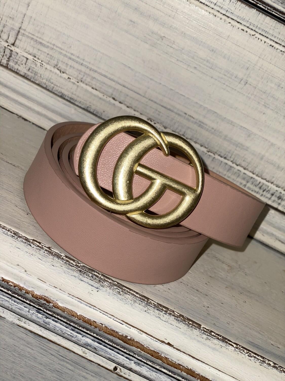 Light Pink Matte Gold Belt