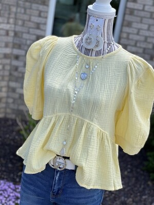 Yellow Gauze Peplum With Button Detailed Top