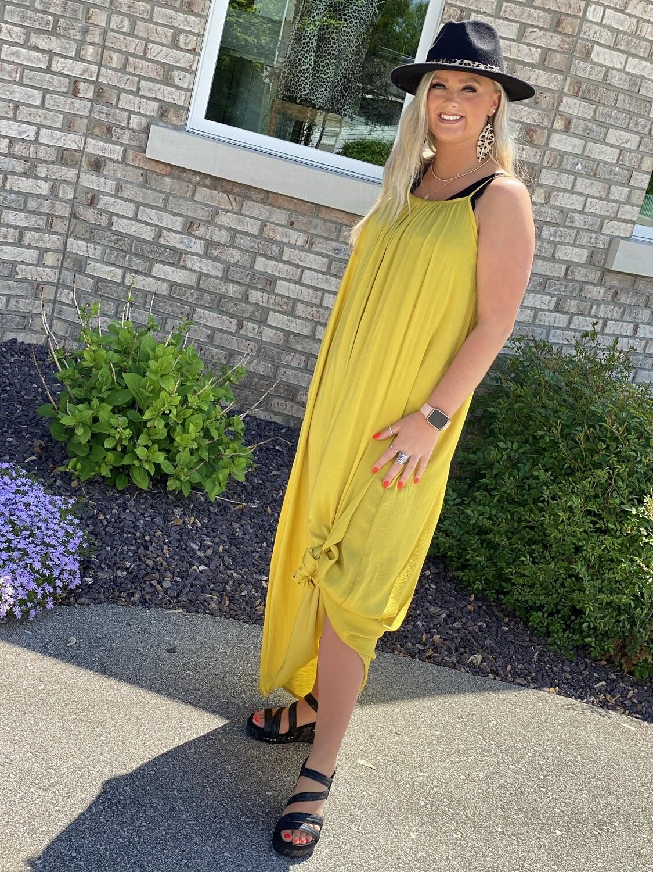 Mustard Silky Maxi Dress