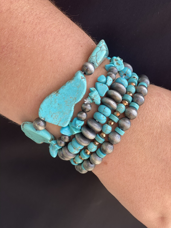 Turquoise & Navajo Pearl Bracelet Set