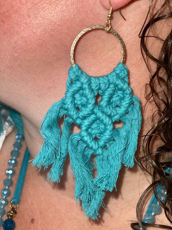 Teal Macrame Earrings