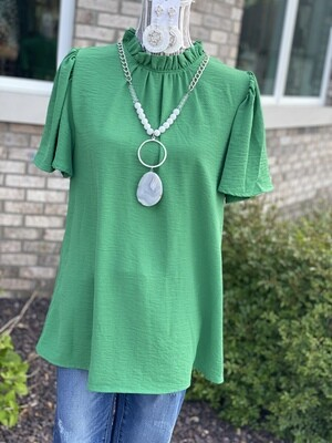 Kelly Green High Neck Blouse