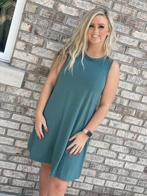 Teal Sleeveless Soft Dress