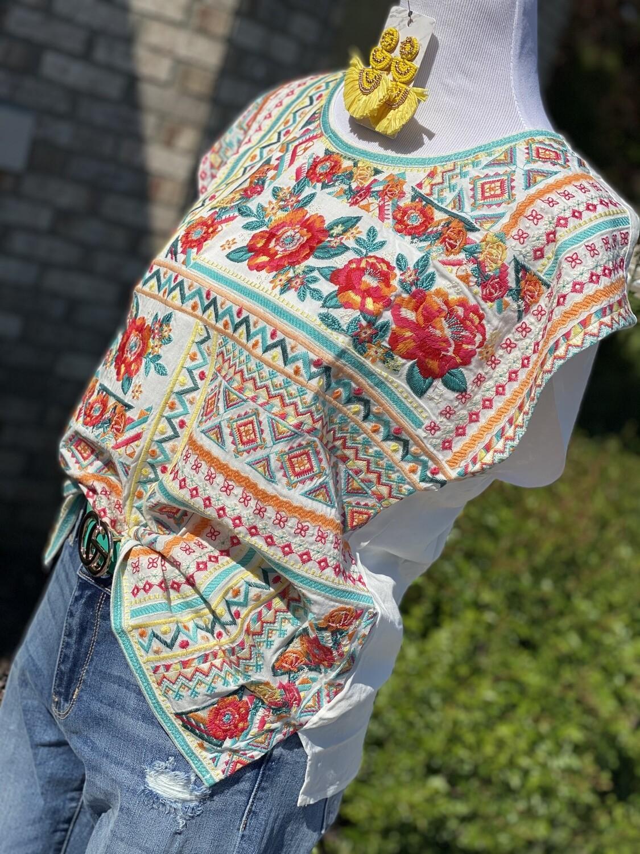 Savanna Jane White Full Embroidered Blouse
