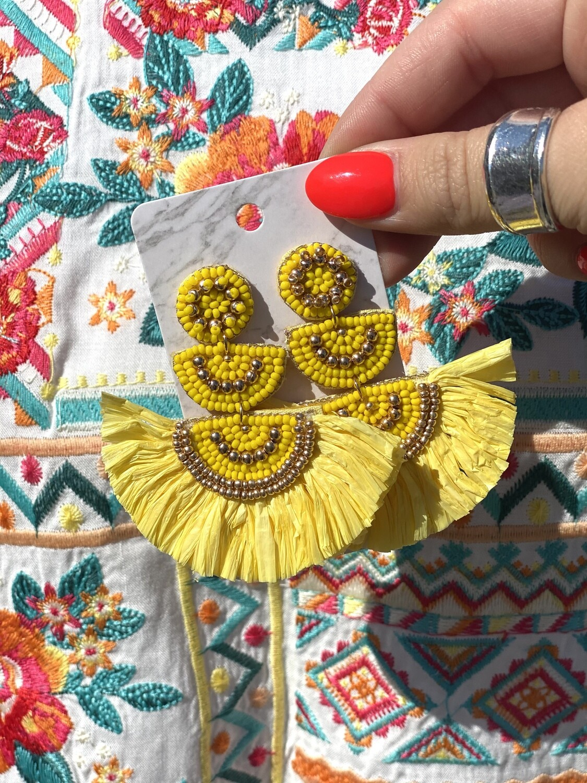 Yellow Tiered Raffia Earrings