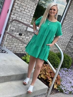 Kelly Green Gauze Tiered Dress
