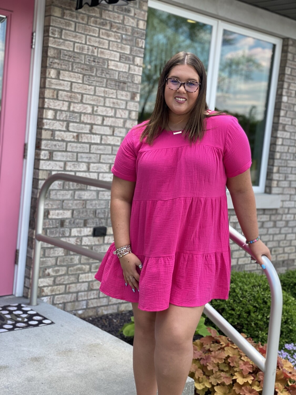 Hot Pink Gauze Tiered Dress