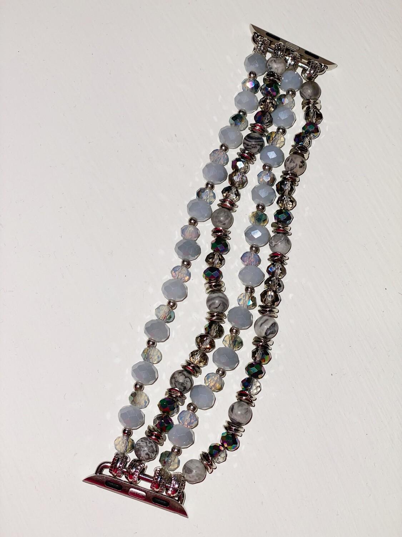 Silver Semi Precious Beaded Watch Band